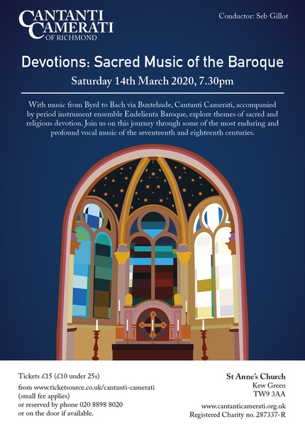 March 2020 flyer Devotions: Sacred Music of the Baroque