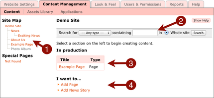 Screenshot of admin interface in CMS