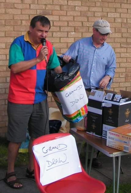 Colin Warren drawing the raffle at the Village Fete 2005