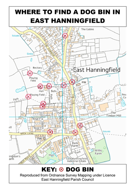 Map of dog bin locations in East Hanningfield village