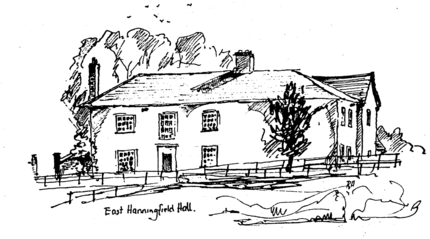 Drawing of East Hanningfield Hall by Richard Higgins