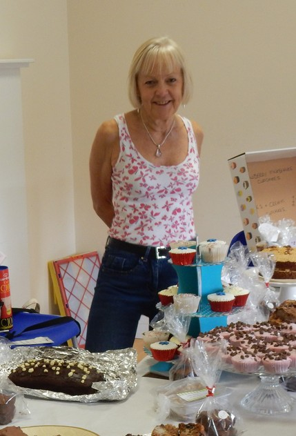 Jackie Feehan manning the Village Fete Cake Stall