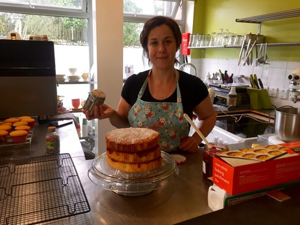 Trudy with one of her delicious home made cakes