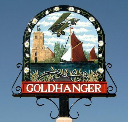 Goldhanger village sign with video introduction