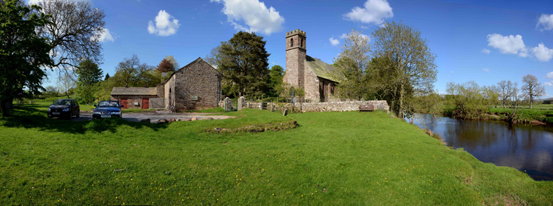Musgrave Church Field: Tithe Barn, St Theobald's Church and the River Eden