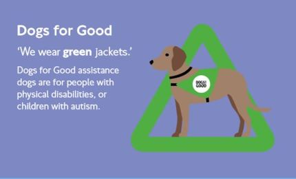 Dogs for Good assistance, for physical disabilities or children with autism