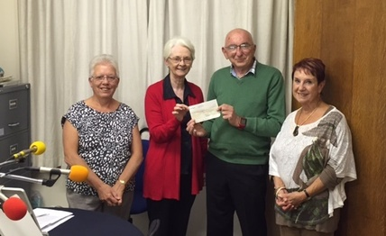 Bill Farmer of Rayleigh Mill Rotary presents us with a cheque for £200 in September 2015.